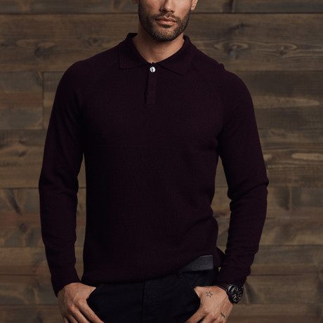 Worden Polo Collar Sweater // Merlot (S)