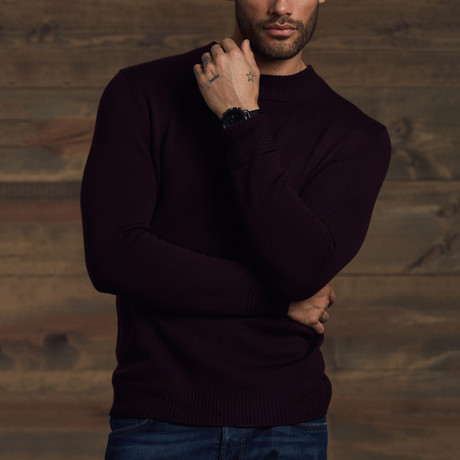 Pratt Neck Detail Sweater // Merlot (S)