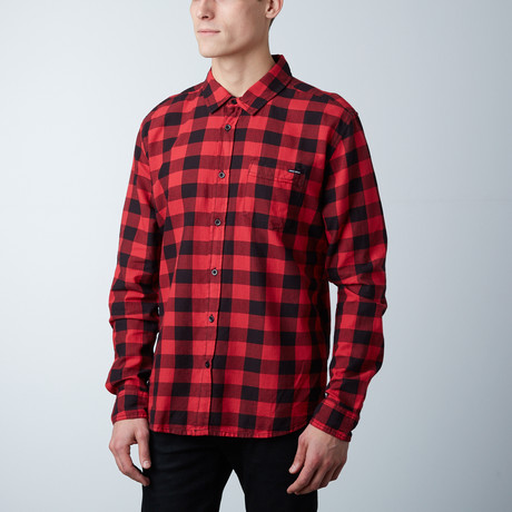 Grayson Plaid Button Down Shirt // Red + Black (S)