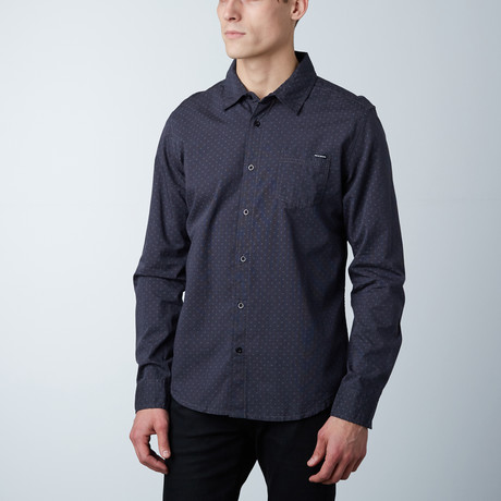 Jacob Polka Dot Button Down Shirt // Dark Grey (S)