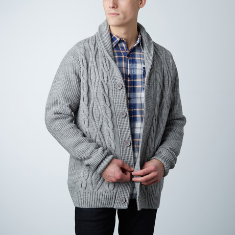 Jeremy Wool Cable Knit Sweater // Grey (S)