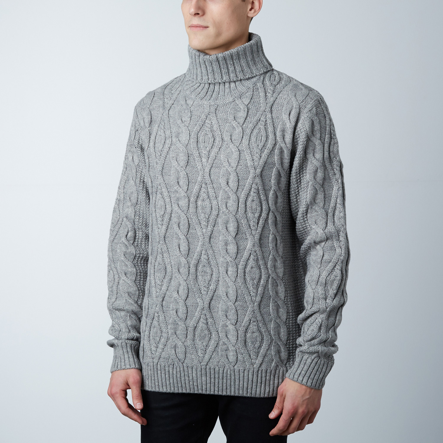 Easton Wool Cable Knit Cardigan Sweater // Grey (S) - Fresh Brand ...