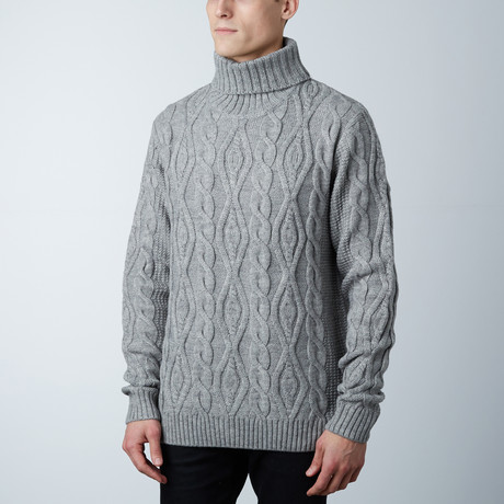 Easton Wool Cable Knit Cardigan Sweater // Grey (S)
