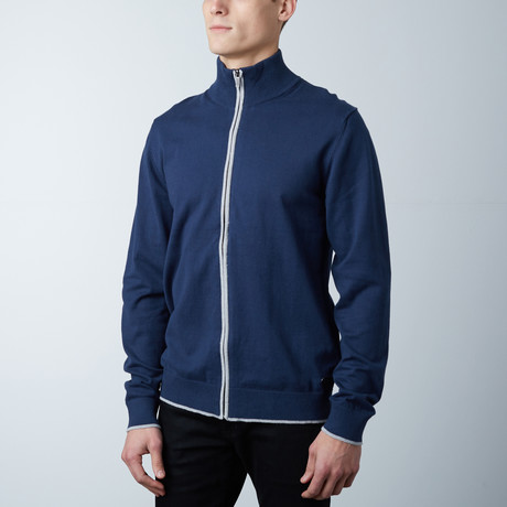 Cole Two Tone Zipper Jacket // Navy (S)