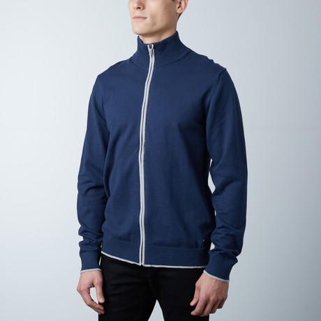 Cole Two Tone Zipper Jacket // Navy (S)