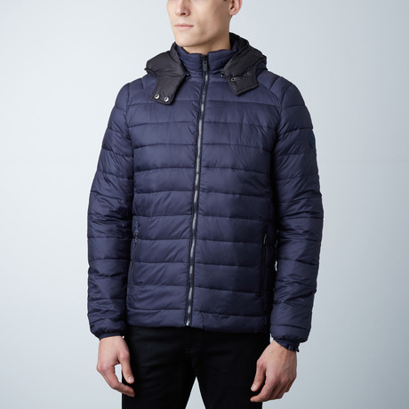Liam Lightweight Hooded Puffer Jacket // Navy + Black (S)