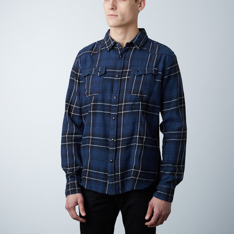 Logan Flannel Button Down Shirt // Navy + Black (S)