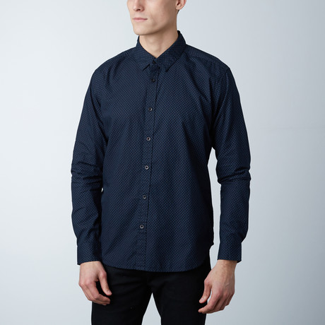 Alexander Polka Dot Button Down Shirt // Navy (S)
