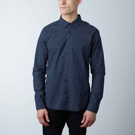 Jayden Polka Dot Button Down Shirt // Navy + White (S)