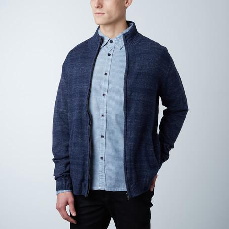 Asher Knit Zipper Sweater // Navy (S)