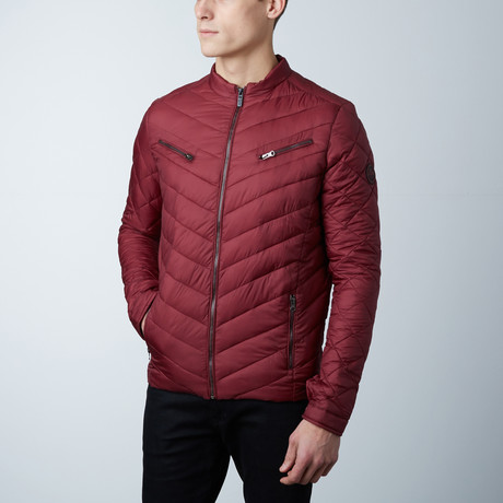 Aiden Lightweight Puffer Jacket // Burgundy (S)