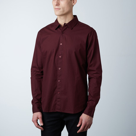 Jayden Polka Dot Button Down Shirt // Burgundy (S)
