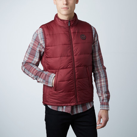 Noah Lightweight Sleeveless Puffer Vest // Burgundy (S)
