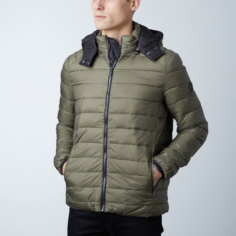 Liam Lightweight Hooded Puffer Jacket // Olive + Black (S)