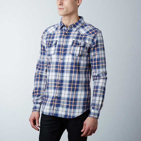 Caden Button Down Shirt // Indigo + Off White (S)
