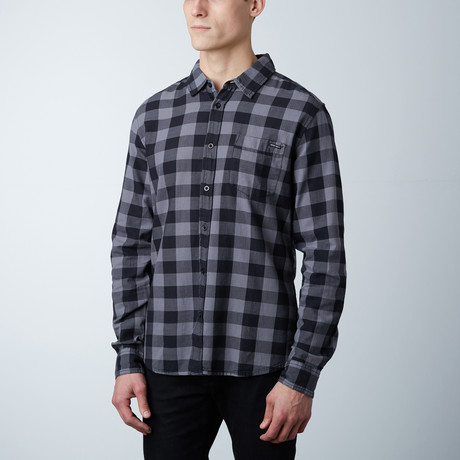 Grayson Plaid Button Down Shirt // Black + Anthracite (S)