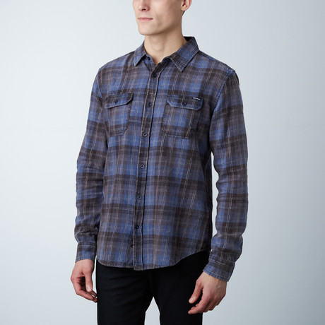 Oliver Washed Cotton Button Down Shirt // Black + Blue (S)