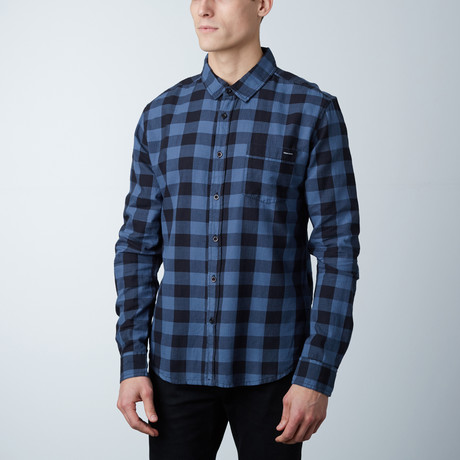 Grayson Plaid Button Down Shirt // Black + Indigo (S)