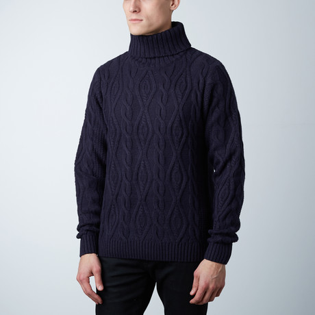 Jeremy Wool Cable Knit Sweater // Navy (S)