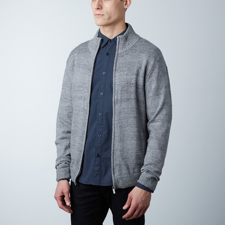 Asher Knit Zipper Sweater // Black (S)