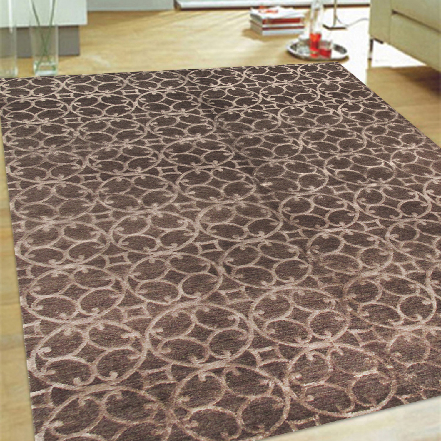 Silk Wool Area Rug Circ 4 6x9 Pasargad Touch Of