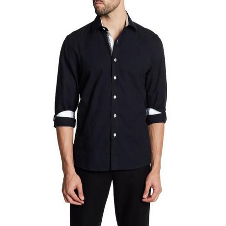 Dennison Slim-Fit Printed Dress Shirt // Black