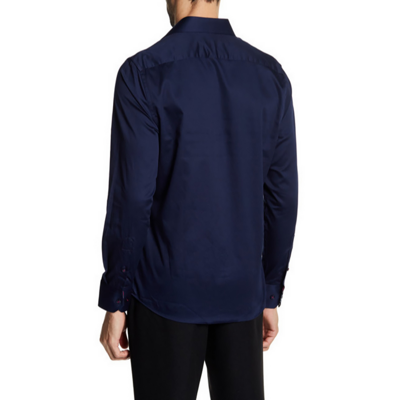 Folgart slim fit solid dress shirt navy s t r for Navy slim fit shirt