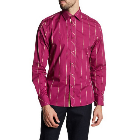 Heller Slim-Fit Printed Dress Shirt // Azalea (S)