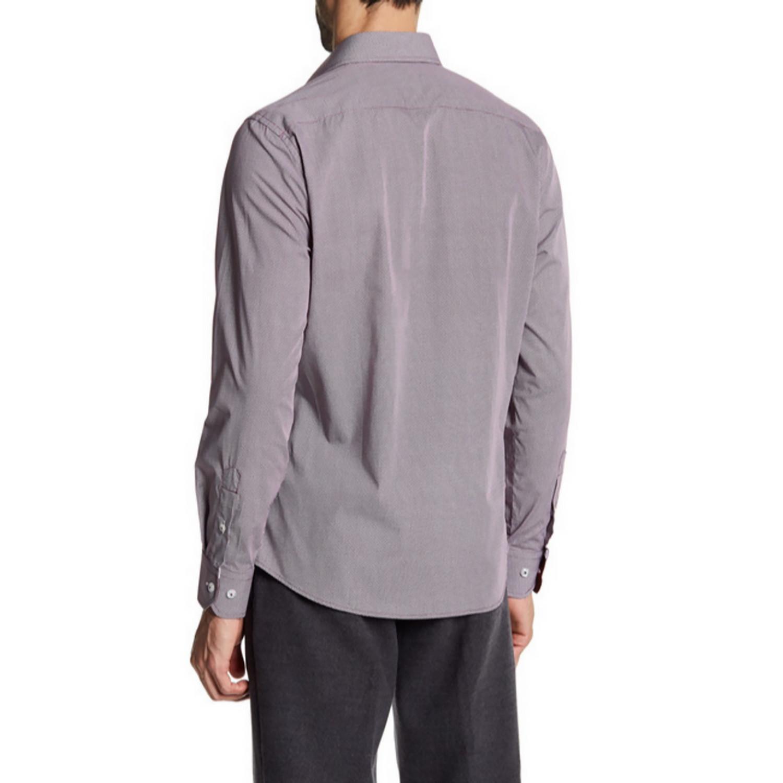 Dreamer slim fit printed dress shirt burgundy s t r for Burgundy fitted dress shirts