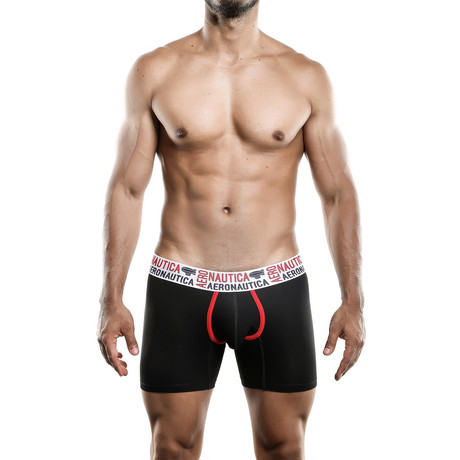Aeronautica Cotton Boxer Medium // Black + Red (S)