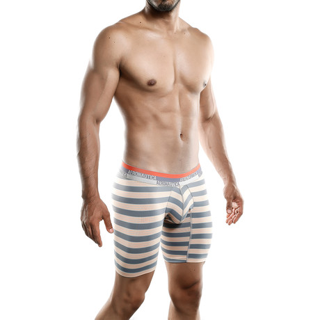 Aeronautica Microfiber Boxer Long // Orange + Gray Stripe (S)