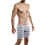 Aeronautica Microfiber Boxer Long // White Gray Stripe (XL)