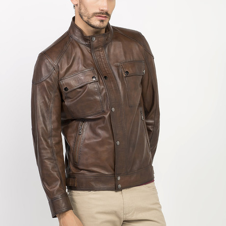 Masky Leather Jacket // Brown (S)