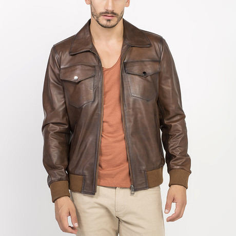 Armes Leather Jacket // Brown (S)