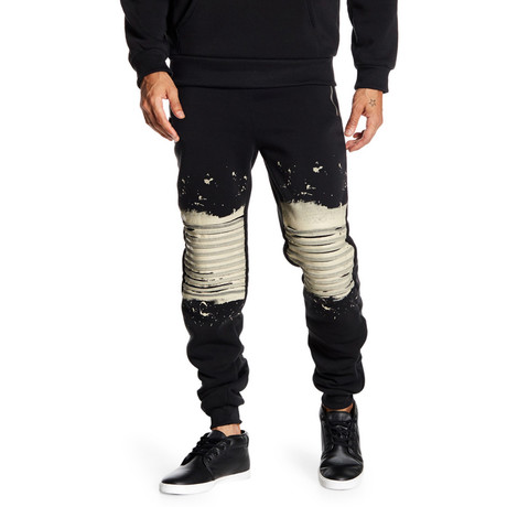 Fleece Splatter Pant // Black (S)
