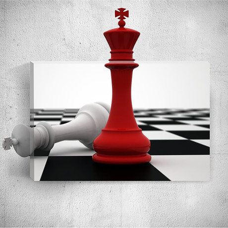 White And Red Chess Pieces // Mostic 3D Wrapped Canvas + Decal