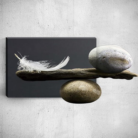 Feather And Stones // Mostic 3D Wrapped Canvas + Decal