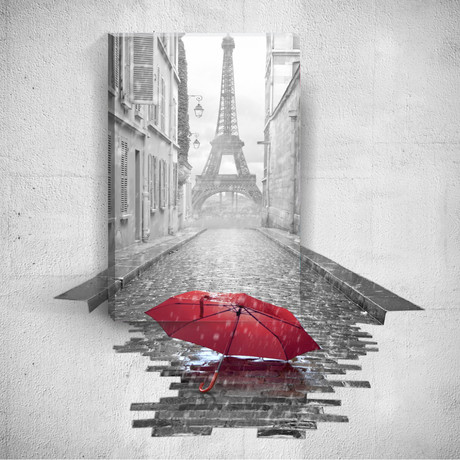 Red Umbrella And Eiffel Tower // Mostic 3D Wrapped Canvas + Decal