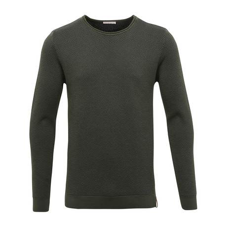 Two Toned Round Neck Knit // Forrest Night (S)