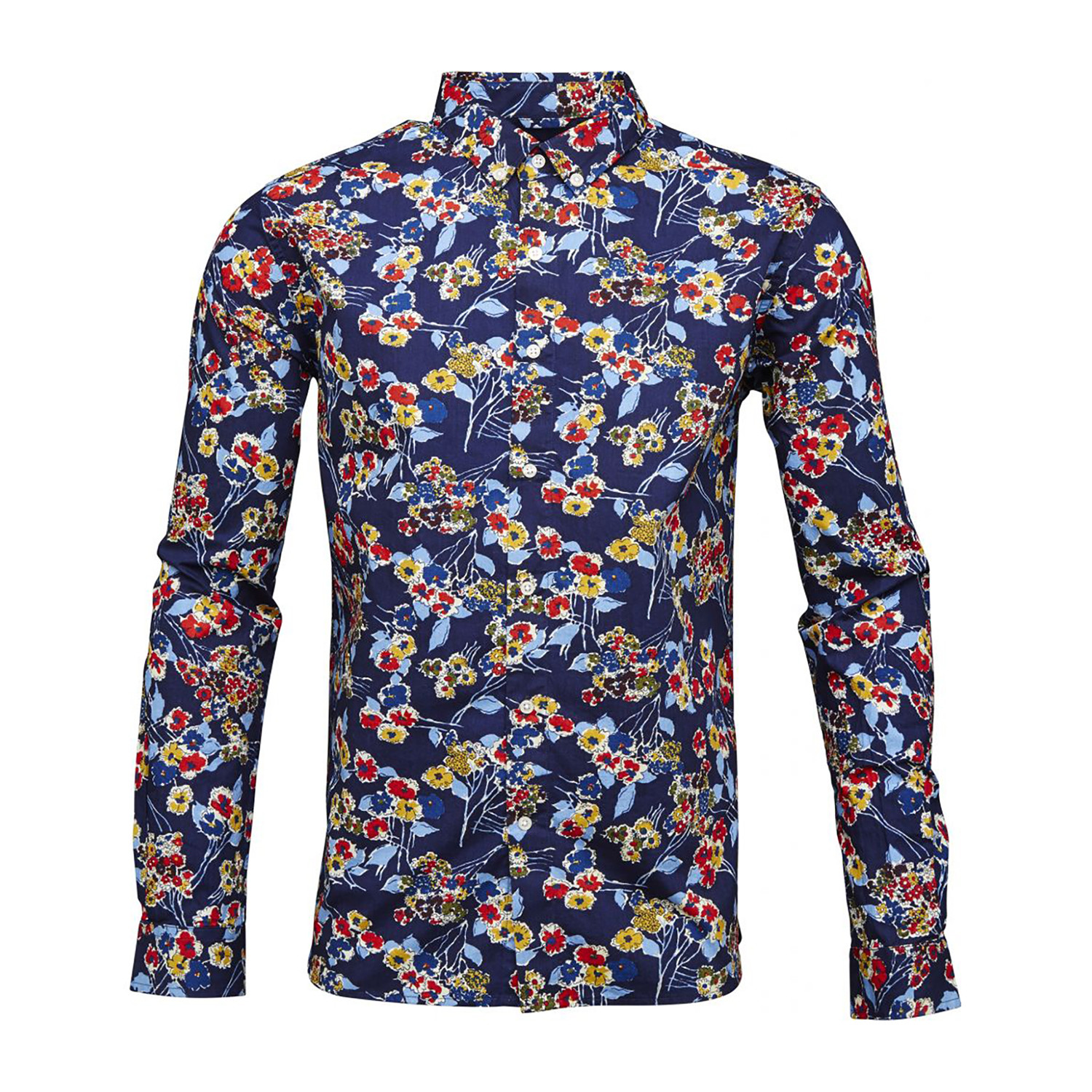 poplin shirt allover flower print peacoat m knowledge cotton apparel touch of modern. Black Bedroom Furniture Sets. Home Design Ideas