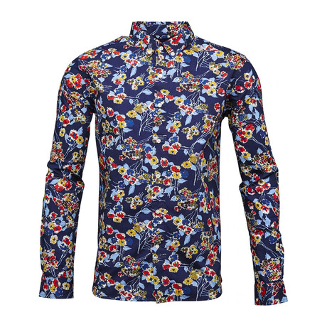 Poplin Shirt Allover Flower Print // Peacoat (S)