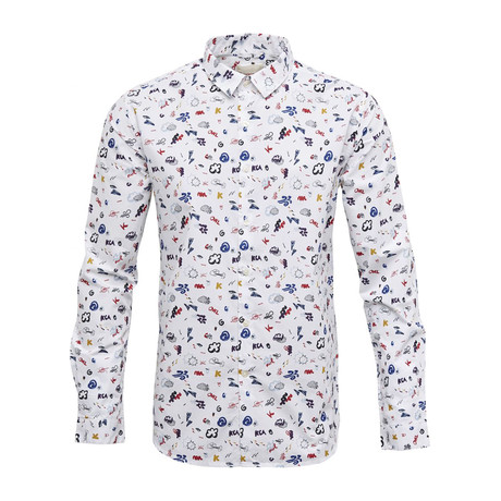 Concept Print Shirt // Bright White (S)