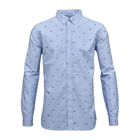 Oxford Shirt Allover Embroidery // Limogas (S)