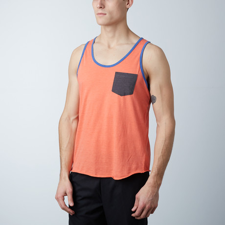 Ultra Soft Semi-Fitted Contrast Pocket Tank // Coral + Charcoal (S)