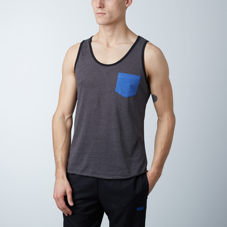 Ultra Soft Semi-Fitted Contrast Pocket Tank // Charcoal + Royal Blue (S)
