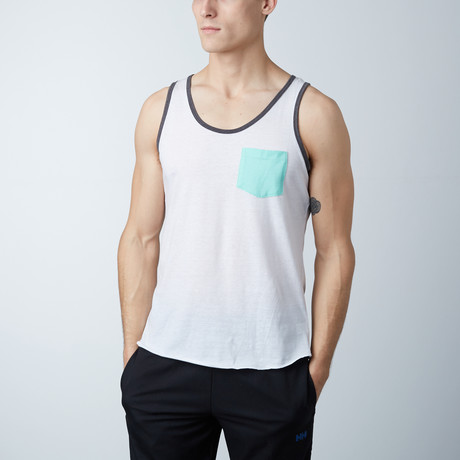 Ultra Soft Semi-Fitted Contrast Pocket Tank // White + Aqua (S)