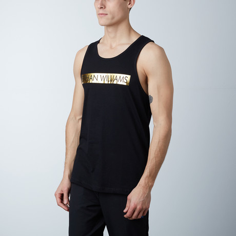 Ultra Soft Semi-Fitted Bar Graphic Tank // Black + Gold Print