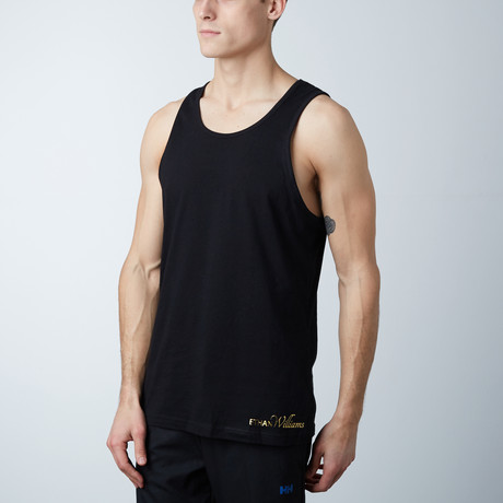 Ultra Soft Semi-Fitted Horizontal Graphic Tank // Black + Gold Print (S)