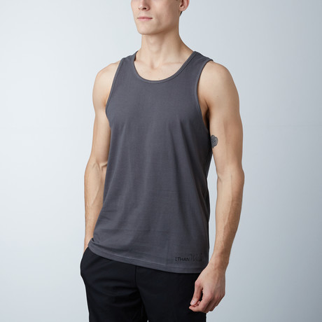 Ultra Soft Semi-Fitted Horizontal Graphic Tank // Heavy Metal + Black Print (S)