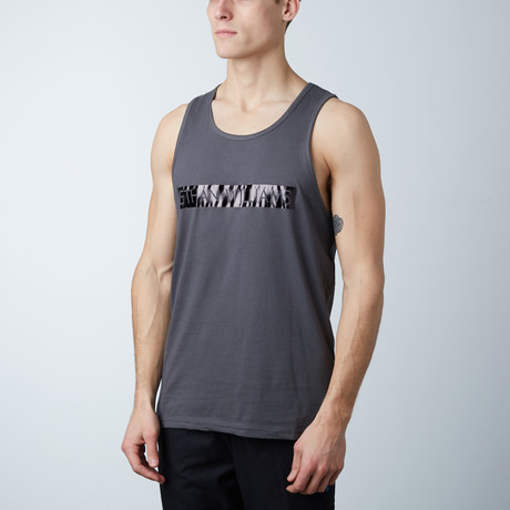 Ultra Soft Semi-Fitted Bar Graphic Tank // Heavy Metal + Black Print (S)